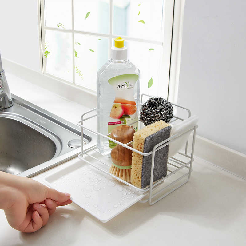 double layer sponge holder kitchen sink organizer with drainer tray dishwasher storage rack spice shelf home storage