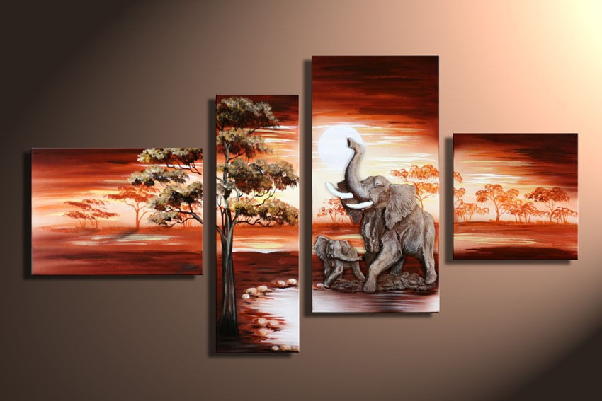 3 Piece Art Sets Hand Painted <font><b>African</b></font> Elephant Canvas Paintings Landscape quadro <font><b>Home</b></font> <font><b>Decoration</b></font> Wall Pictures for Living Room