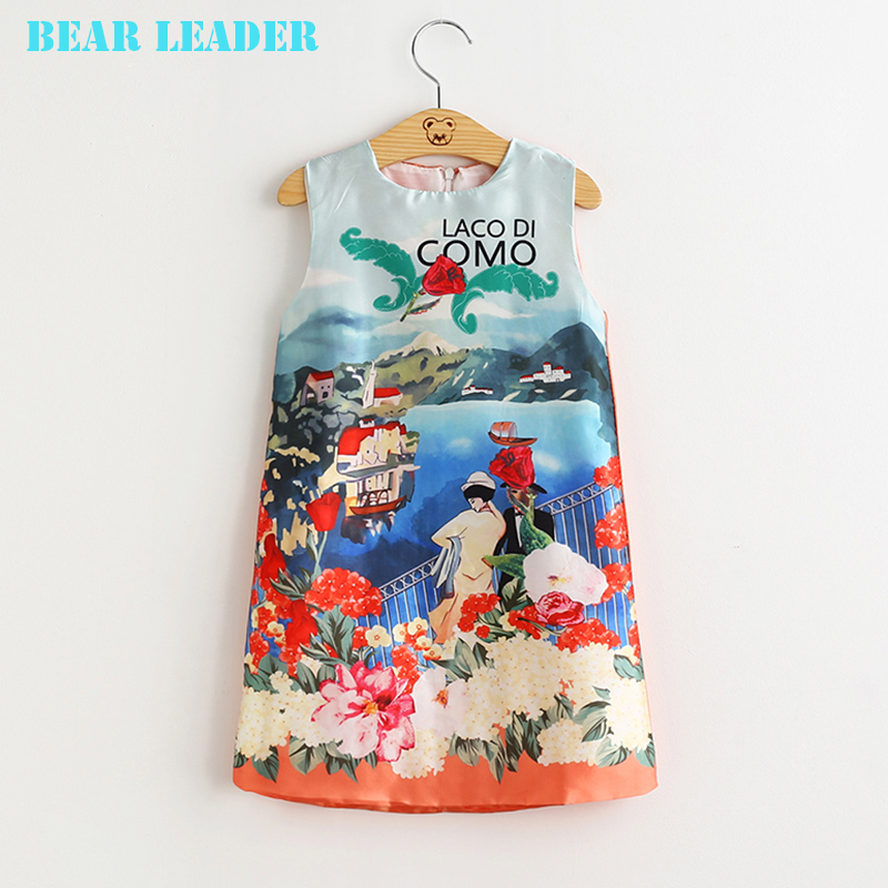 Подробнее о Bear Leader Brand Girl Dress  2016 New Princess Dress Girls Clothes Landscape Design Kids Dresses for Girls Costumes 3T-8T bear leader girl dresses 2016 brand girls costumes princess dress kids clothes sleeveless bow plaid pattern girls dress children
