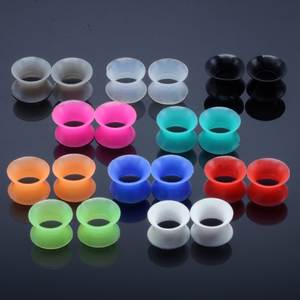 Jewelry Tunnels Ear-Gauges 3-20mm Body-Piercing Flesh-Ear Soft-Silicone 2PCS Mix-Colors