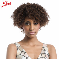 Sleek Бразильский короткие Человеческие волосы Парики для черный Для женщин афро кудрявый вьющиеся натуральная Человеческие волосы не Круже...