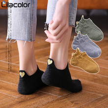 Women Socks 1 Pair 2019 Spring Ankle Girls Cotton Color Novelty Fashion Cute Heart Casual Lady