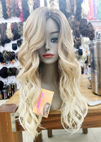 Hot heat resistant Ombre Wig curly Fashion Wig long blonde with dark root TOP quality hair wigs free shipping