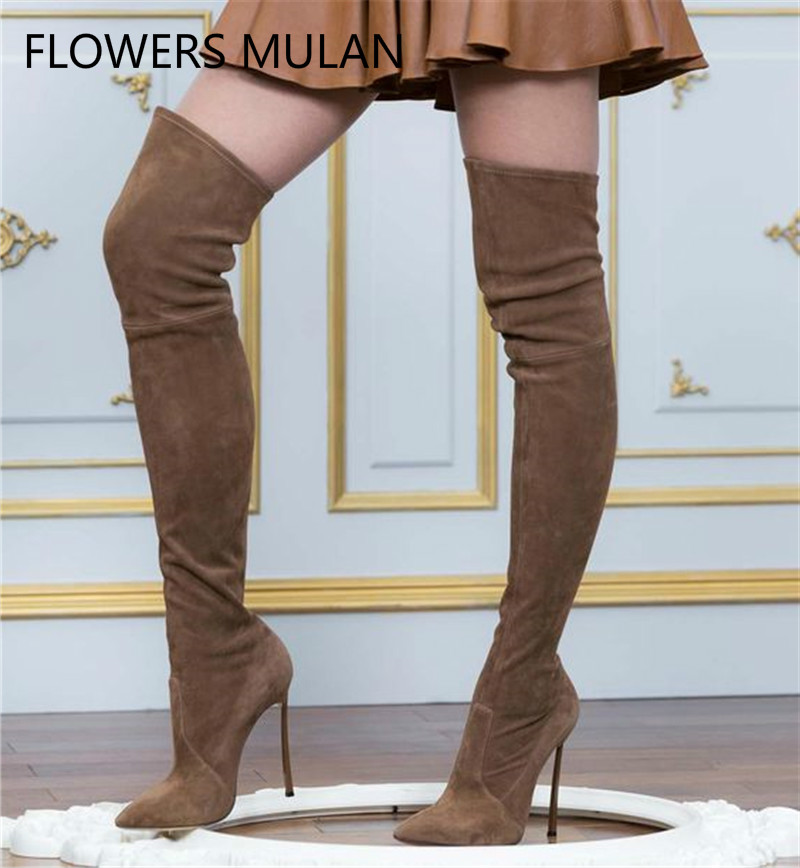 Luxury Brand Autumn Winter Women Boots Long Stretch Slim Thigh High Boots Fashion Over the Knee Boots High Heels Shoes Woman fedonas top fashion women winter over knee long boots women sper thin high heels autumn comfort stretch height boots shoes woman
