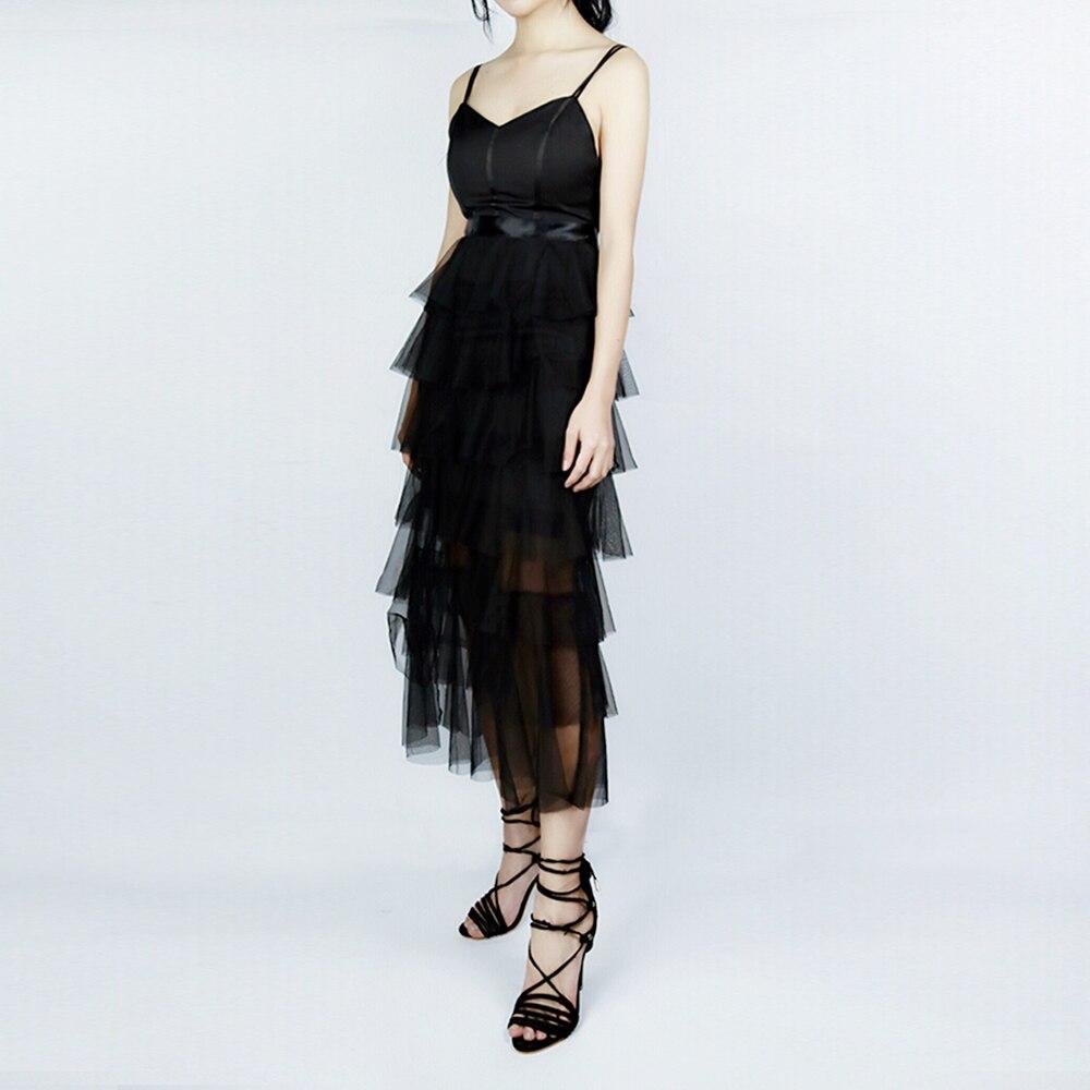 Moda Sexy vestidos de mujer negro espalda descubierta Spaghetti Strap vestidos largos señoras de corte bajo cuello en V vestidos de fiesta de verano nuevos Ins - 3
