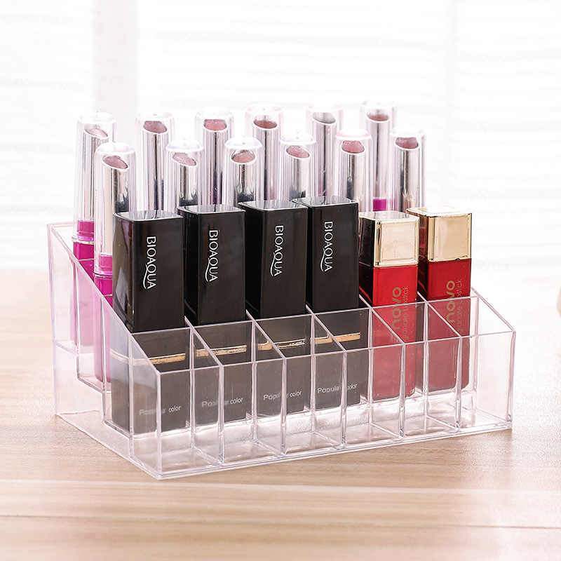 Junejour 24 Grid Acrylic transparent Makeup Organizer Storage Boxes Make Up Organizer lipstick holder Jewelry Box Holder Display