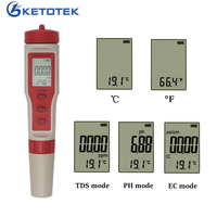 4 In 1 TDS PH Meter Temperature Meter EC Tester Water Quality Monitor Tester for Pools Drinking Water Aquariums