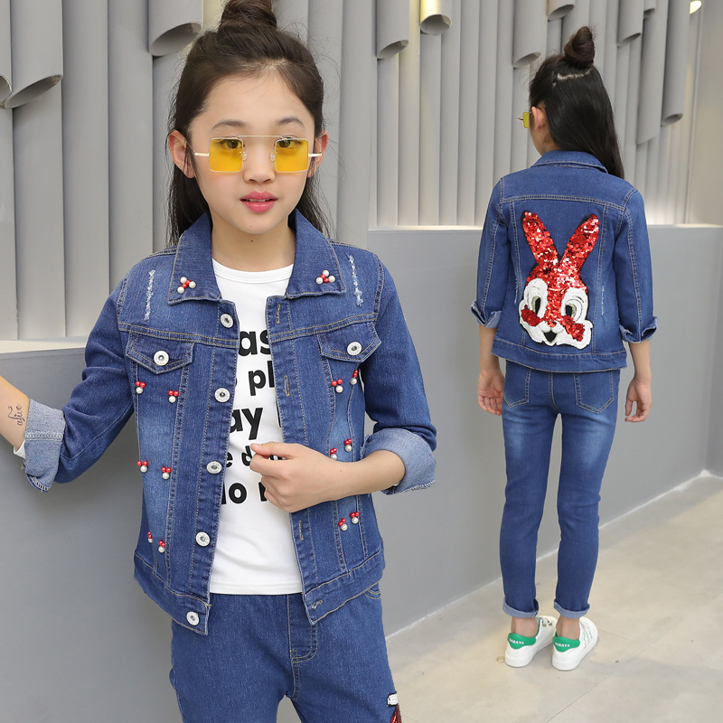Long Sleeve Suit for Girls Clothing Set Autumn Winter Boutique Rabbit Denim Coat Jeans Two-piece Girls Clothes 8 10 12 Years 2017 high quality girls luxury sequin denim jacket pants clothing set kids clothes sets jeans coat trousers two piece set