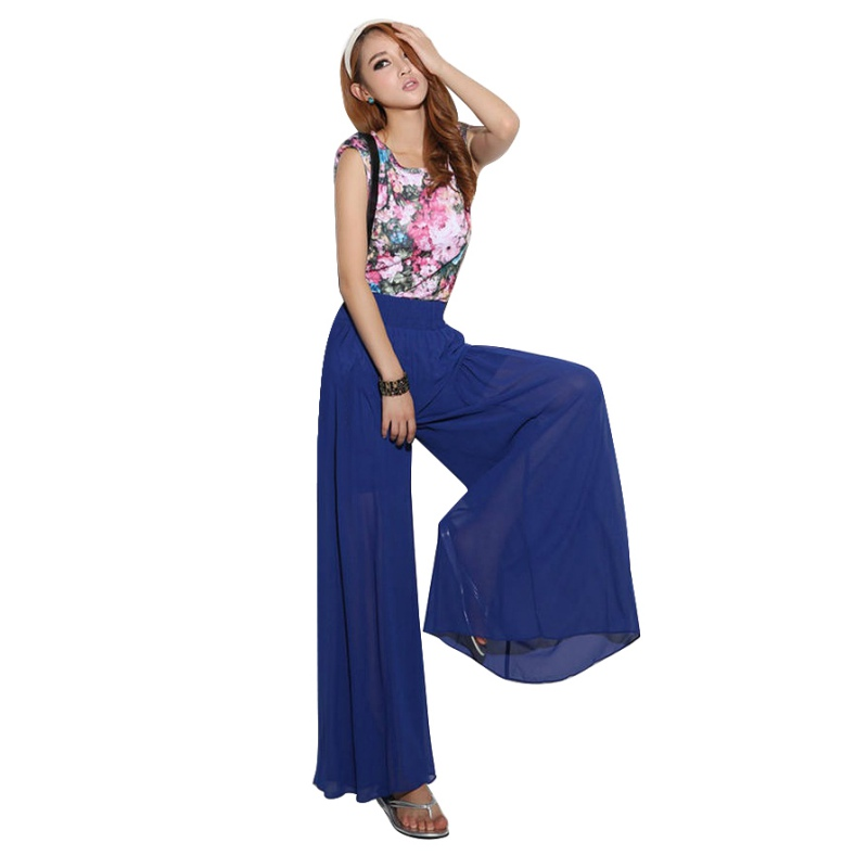 Causal Women Summer Chiffon   Pants   High Waist   Wide     Leg     Pants   Loose Straight Trousers Long Female Loose Trousers