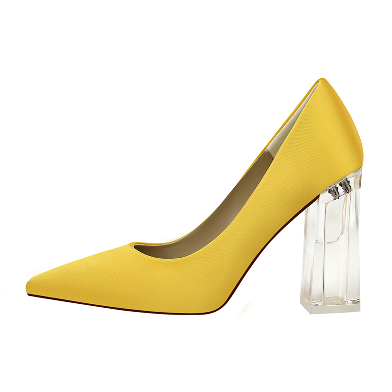 19 Plus Size 43 Women Block 10cm High Heels Lady Scarpins Green Satin Pumps Female Wedding Yellow Blue Silk Transparent Shoes 4
