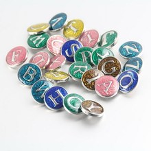 ФОТО new style 18mm metal enamel letter a-z alphabet ginger snap button for snap button jewelery bracelets for women 26pcs