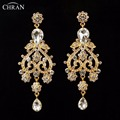 CHRAN Unique Style Valentine's Day Gift Bridal Jewelry Long Earrings Fashion Antique Gold Plated Crystal Drop Earrings for Women