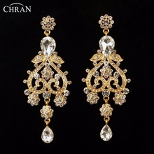 CHRAN Valentine's Day Gifts Unique Bridal Long Earrings Jewelry Fashion Gold Color Crystal Drop Earrings for Women