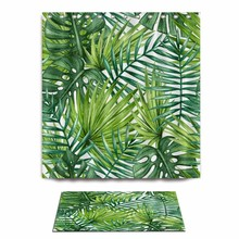 3D Green Leaves Printed Shower Curtains And Carpets