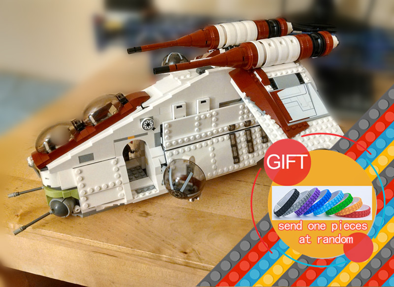 05041 1175pcs Star Series The Republic Wars Gunship Set Educational Building Blocks Toys Compatible with 75021 Gifts lepin professional 29 keys programmable mechanical usb wired one hand gaming keyboard rgb led backlit backlight for pro gamer