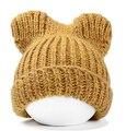 Envío gratis 2015 nueva moda señora Girls Winter Warm tejer Multicolor del oído de gato Beanie Ski Hats Caps 7 colores