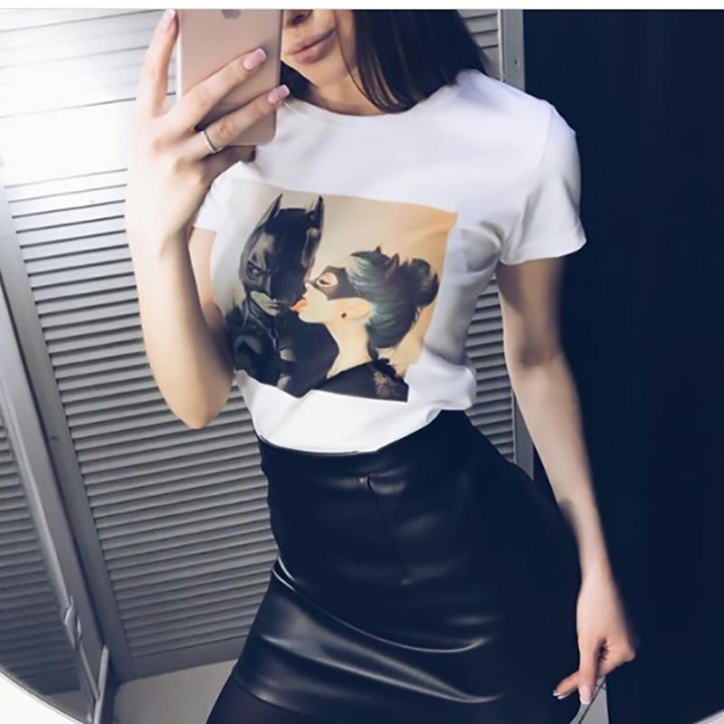 New Summer Women Tops 2019 Batman and Catwoman Kiss t-shirt Fashion Cool tshirt Tees
