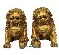 Large brass Small Large Pair Bronze Chinese Lion Foo Dog Statue Figure Sculpture Gold Color 6.5H Decoration 100% Brass Bronze