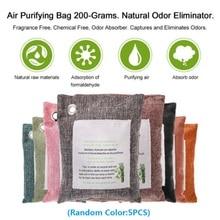 5 упаковок очищающие воздух мешки природа свежий уголь Бамбук воздух очищающий в форме сумочки очиститель запахов бамбуковый уголь+ нетканый материал