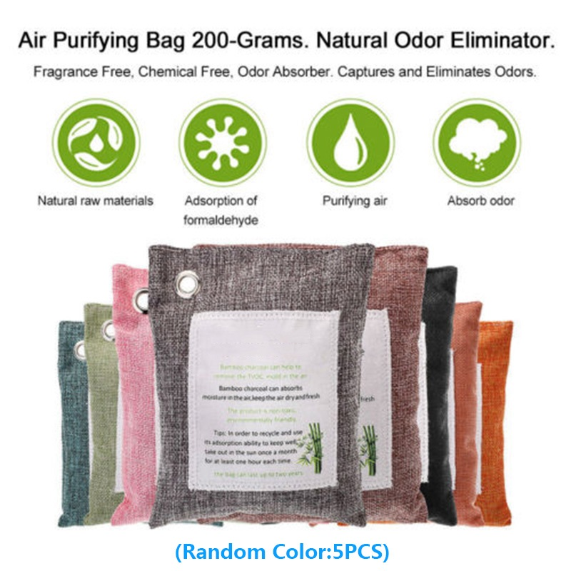 5 Packs Air Purifying Bags Nature Fresh Charcoal Bamboo Air Purifying Bag Mold Odor Purifier Bamboo Charcoal+non-woven Fabric