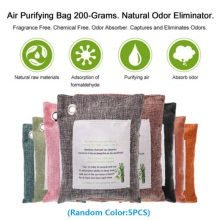 5 Packs Air Purifying Bags Nature Fresh Charcoal Bamboo Bag Mold Odor Purifier Charcoal+non-woven Fabric