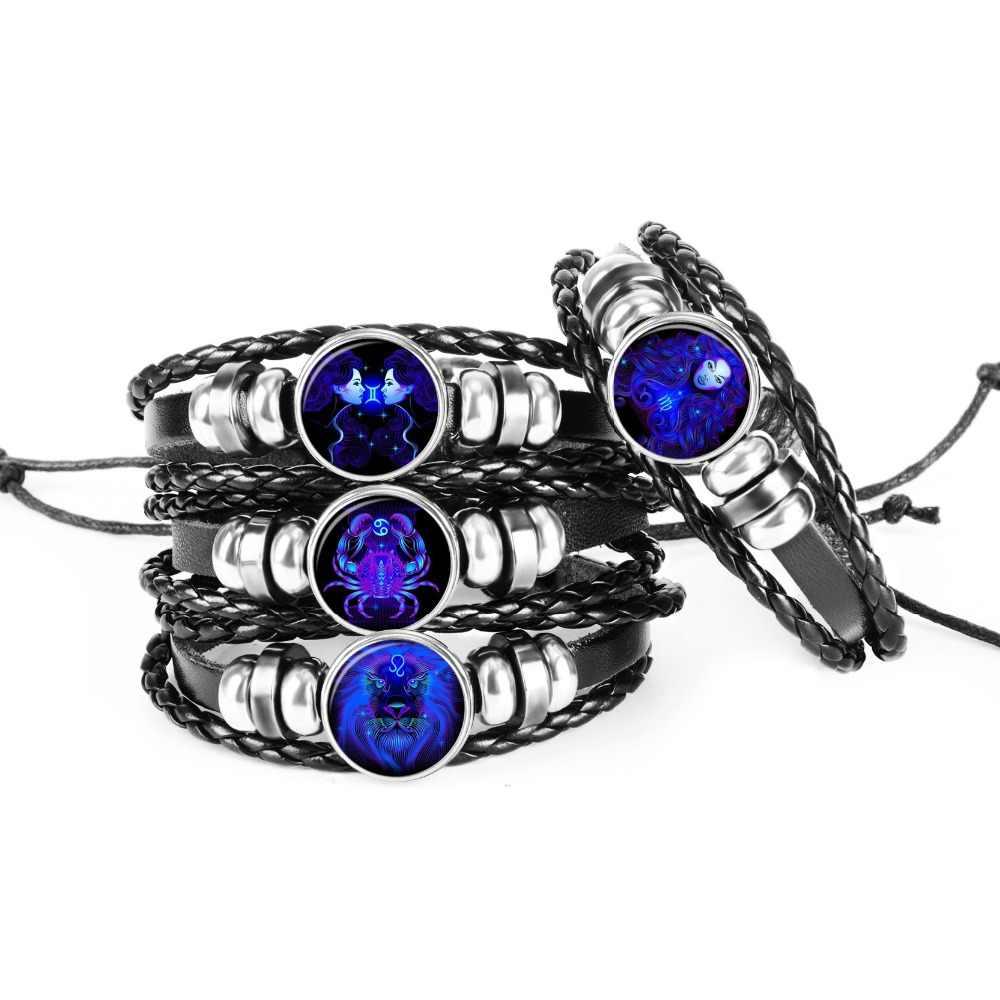 12 Constellation signe du zodiaque noir tressé Bracelet en cuir Cancer Leo vierge balance tissé verre dôme bijoux Punk hommes Bracelet