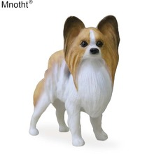 Mnotht Mini Dog Toy 1/6 Emulation Continental toy Spaniel-Papillon Model Accessory for Action Figure Collection Gift m5n