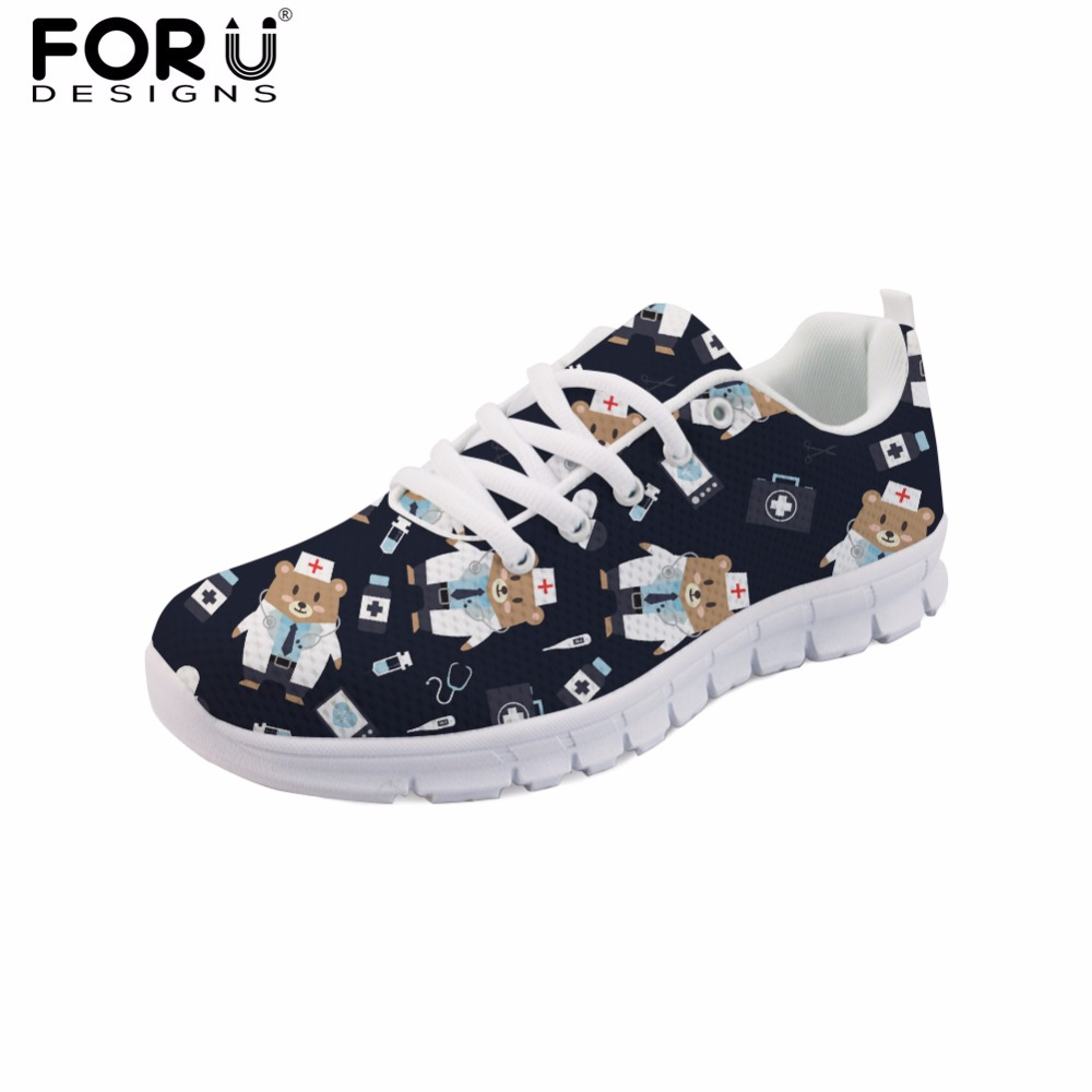 FORUDESIGNS Black Cartoon Bear Print Fashion Girls Casual Flats Shoes Cute Nurse Women Brand Designer Mesh Shoes Zapatos Mujer forudesigns 3d flowers pattern women casual sneakers comfortable mesh flats shoes for female girls lace up shoes zapatos mujer