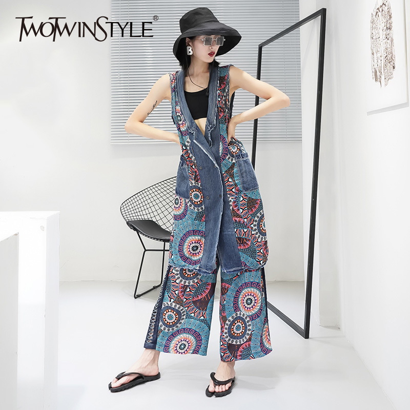 TWOTWINSTYLE Waistcoat Two Piece Set Female Pring V Neck Sleeveless Pocket Patchwork Long Vest With High Waist Wide Leg Pants
