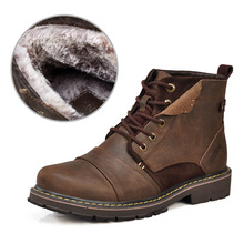 Winter men boots warm genuine leather boots with fur waterproof motorcycle boots free shipping plus size