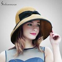 2017 Nowy Letni Szerokim Rondem Plaża Kobiety Sun Straw Hat Elegancki czapka Dla Kobiet ochrona UV czarny łuk słomy kapelusze dziewczyny hot SW129001