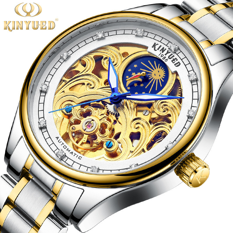 KINYUED Watch Men Luxury Waterproof Small Dial Hollow Moon Phase Men s Mechanical Self Wind Watches