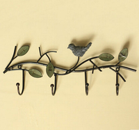 Real Photo Newest Fashion Metal Hook Funny Bird Leaf Branch Hook Home Decoration Cute Coat Hook Metal Room Wall Hanging