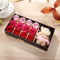 12 Roses avec Mignon Ours Poupée Ensemble De Bain Parfumés Savon Rose Fleur De savon de Pétale avec Boîte-Cadeau pour le Mariage De Valentine Jour Amour cadeau
