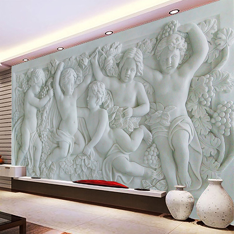Custom Any Size Mural Wallpaper European Style 3D Relief Kids Angel Photo Background Wall Paper Living Room TV Study Home Decor custom any size mural wallpaper 3d stereoscopic universe star living room tv bar ktv backdrop bedroom 3d photo wallpaper roll
