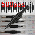 500 Black Sterile 3/4(19mm) Tattoo Needle Tube Round Flat Mag Shader Tip mix size for  you pick up free shipping