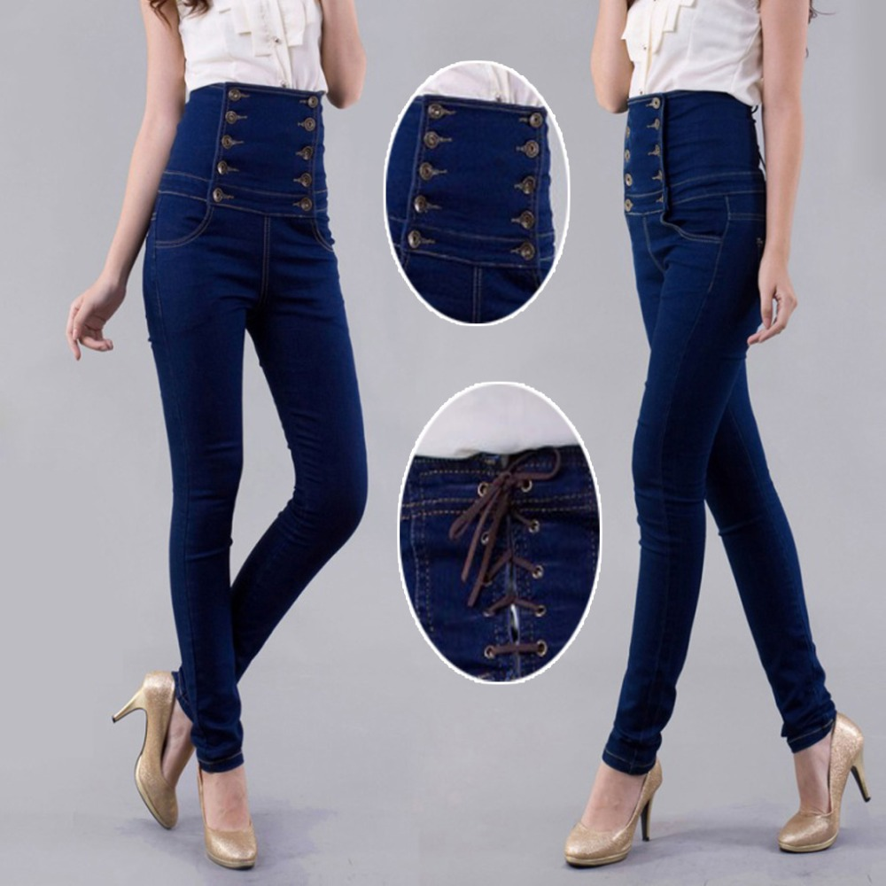 ФОТО 2017 Woman High Waist Elasticity Plus Big size 4XL XXXXL Ladies' Jeans Women Double-breasted Female Denim Trousers Pencil pants