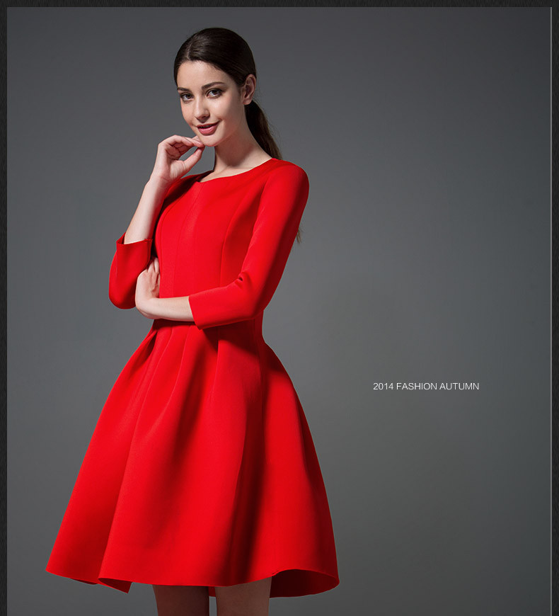 ea7d747bdef5 FASHION SALE New 2015 Autumn Winter Women's Red/Black Dresses Evening  Elegant 3/4 Sleeve Pleated Ball Gown Dress To Party-in Dresses from Women's  Clothing ...