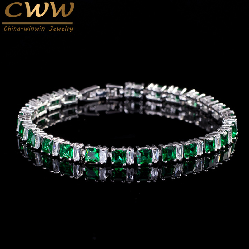 CWWZircons Brand High Quality Cubic Zirconia Paved Square Green Stone Fashion Bracelets For Women Best Friend Jewelry CB146