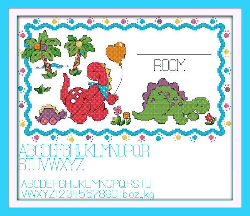 Динозавр запись о рождении вышивки крестом комплект мультфильм 14ct 11ct Количество печати холст шить вышивка DIY ручной рукоделие