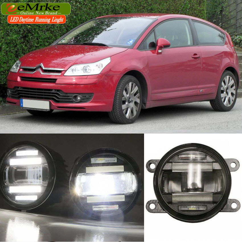 eeMrke Car Styling For Citroen C4 2 in 1 Multifunction LED Fog Lights DRL With Lens Daytime Running Lights eemrke car styling for opel zafira opc 2005 2011 2 in 1 led fog light lamp drl with lens daytime running lights