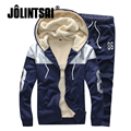 Jolintsai 2017 Winter Sporting Suit Men Zipper Cardigan Tracksuit Men Plus Size 5XL Warm Track Suits Set Hoodies Men Sportswear