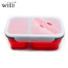 Folding Silicone Lunch Box For Food Fruit Vegetables Storage Container With Fork Spoon Fresh Keeping Boxes Kitchen Utensils