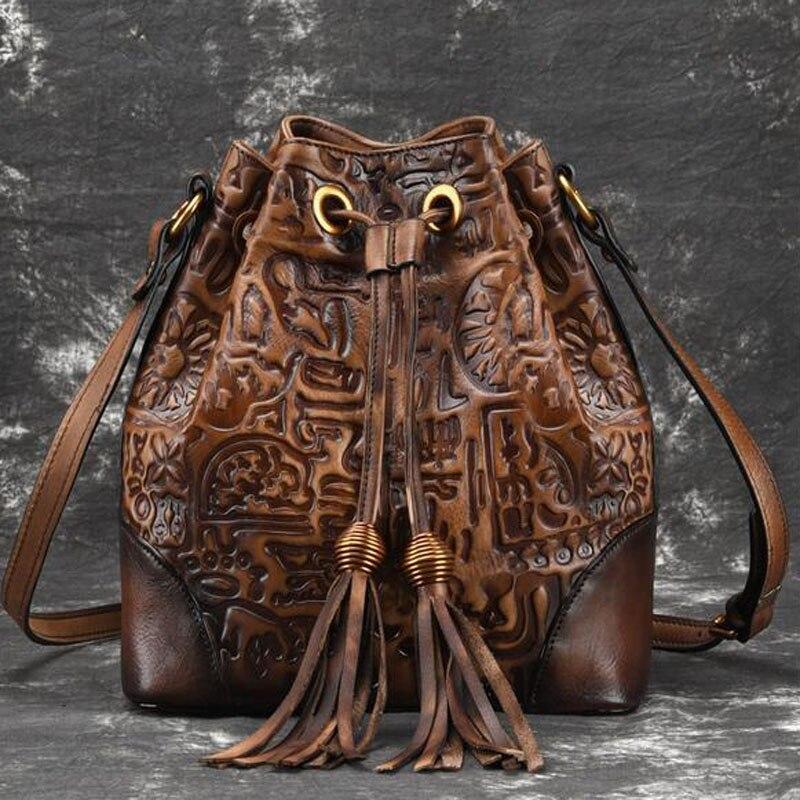 الرجعية جلد حقيقي السيدات عبر الجسم حقيبة للنساء عارضة الأزياء الكلاسيكية اليد حقيبة ساع الجلود حقيبة أنيقة-في حقائب الكتف من حقائب وأمتعة على  مجموعة 3