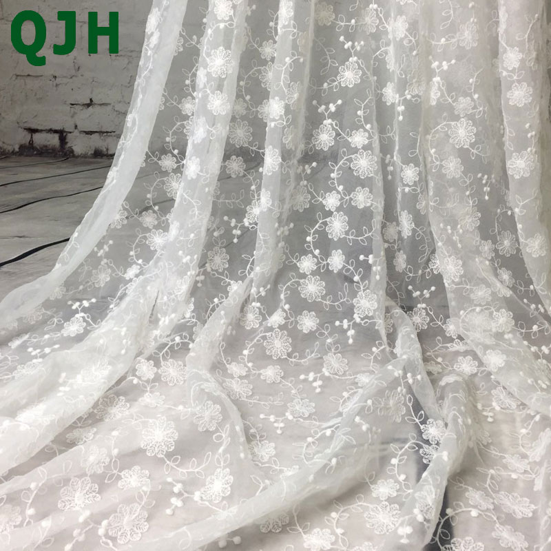 1yard Chantilly White Wedding Lace Fabric White Ivory French Embroidery Lace Fabric For Lace Accessories Wedding Dress Clothes