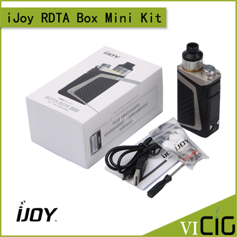 100% Original iJoy RDTA Box Mini Kit with 6ML e-juice tank Built-in Li-Po 2600mAh battery IBM-C2 Coil 100W BOX MOD Vape Kit original steam crave aromamizer plus rdta 10ml e liquid enhanced airflow juice flow design rdta tank electronic cigarette tank