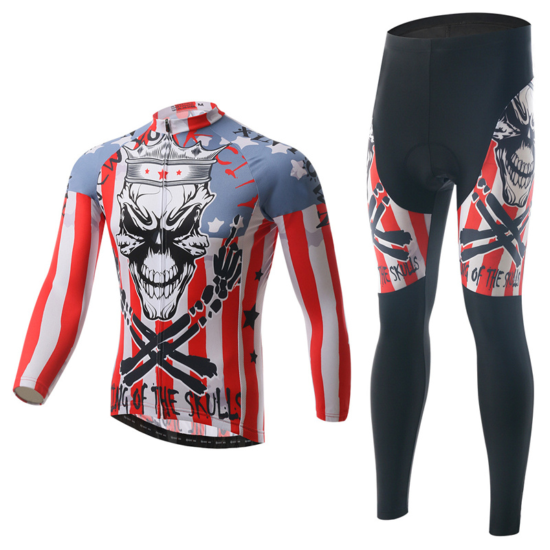 Skull Pring Cycling Jersey Sets Polyester Moisture Absorbing Sweat Cycling Jersey Sets Long Short Sleeved Cycling Jersey Sets