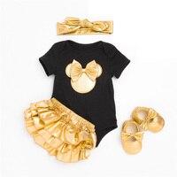 Uniqbnb Baby Girl Clothes Set Infant Newborn Rompers+Short Pants+headband+shoes 4PCS Outfit Bebe Clothes 0 24M