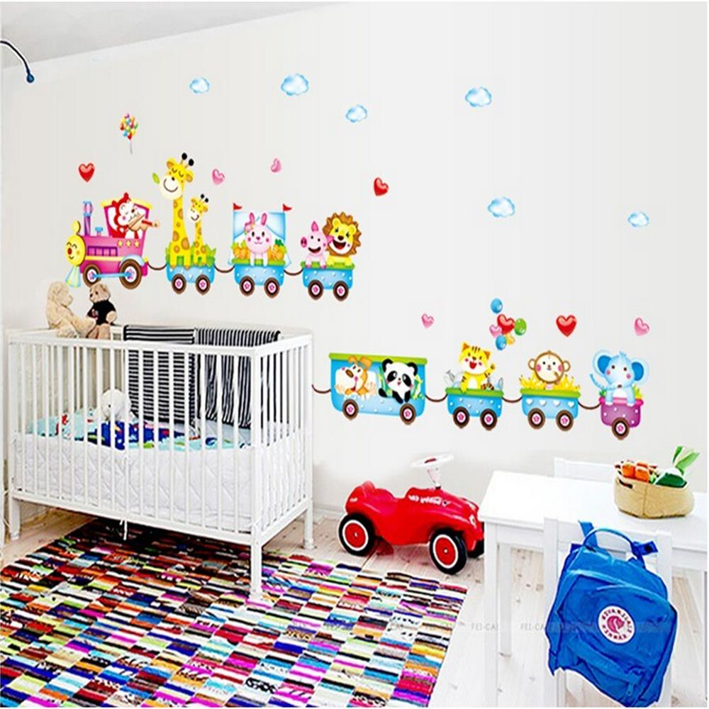 popular zoo animal stickers for art buy cheap zoo animal stickers cartoon zoo animal art sticker vinyl wall stickers for kids rooms home decor decal living room