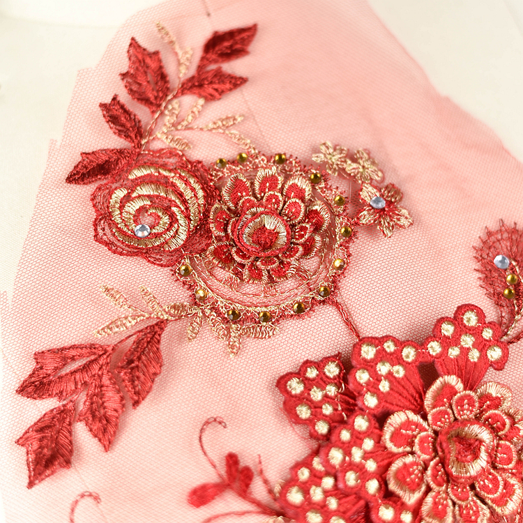 Luxury 3D flower beaded embroidered patch applique for stage performance dress sewing on clothes decoration accessories DN212